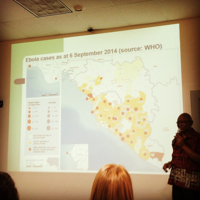 Getting briefed on the Ebola outbreak in Sierra Leone by our partner Dr. Abdul Jalloh of MRC. Takeaway: we need to get 1 million gloves per week into the country.