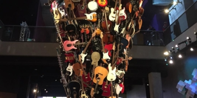A small portion of @morbidkales bass collection on display at the EMP Museum