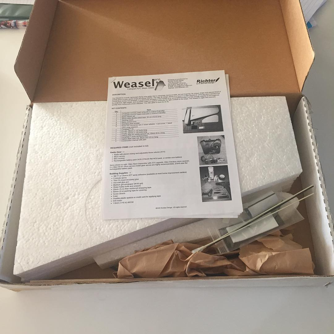 Found a new in box Weasel-pro kit on RCGroups – so stoked to build this with my boys.