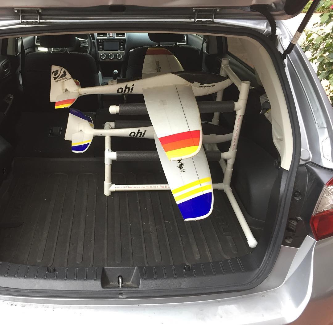 After decades in the hobby, I finally built a PVC rack to carry planes in the back of my car. I have no idea why I waited so long… there's no downside.
